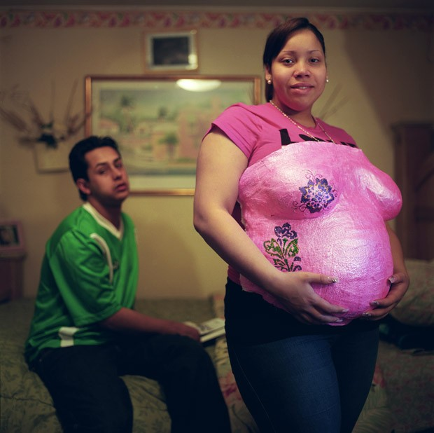 Damaris Nevarez, nineteen and seven months pregnant.